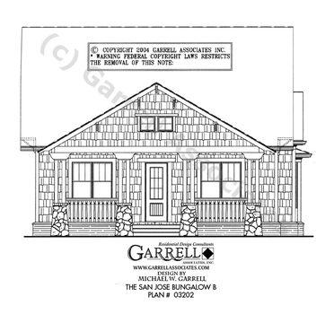 San Jose Bungalow B House Plan   House Plans by Garrell Associates, Inc