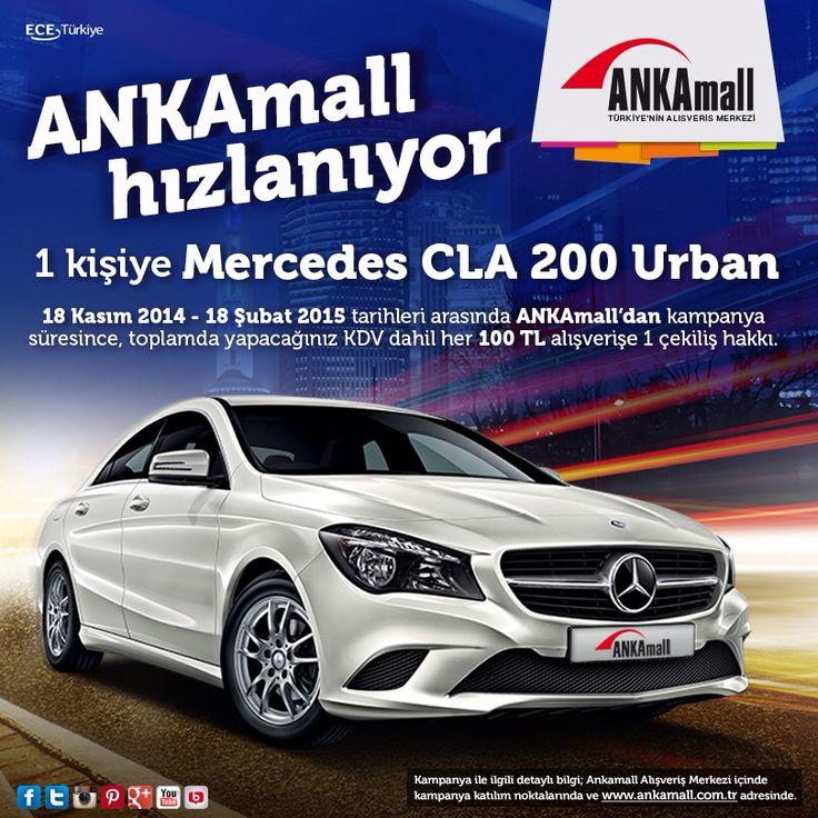 Son 2 Gün! 2015'te Mercedes CLA 200 Urban senin olabilir! 18 Şubat 2015'e kadar ANKAmall'dan kampanya süresince, toplamda yapacağınız KDV dahil her 100 TL alışverişe 1 çekiliş hakkı seni bekliyor.