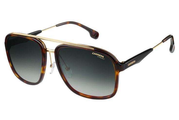 Carrera - 133/S Havanna Gold Sunglasses, Gray Green Lenses