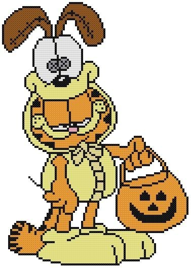 Cross Stitch Knit Crochet Plastic Canvas Waste Canvas Rug Hooking and Bead Work Pattern Garfield Cat is already for Trick or Treating for Halloween in his Odie Dog Costume.  https://www.pinterest.com/resparkled/