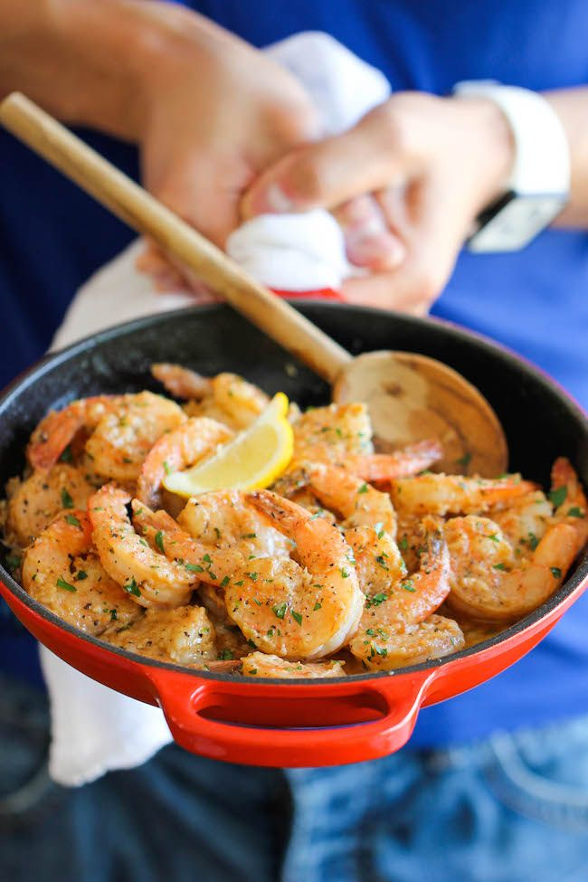 ~ Garlic Butter Shrimp - An amazing flavor combination of garlicky, buttery goodness - so elegant and easy to make in 20 min or less!
