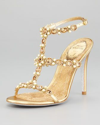 T-Strap Beaded Sandal by Rene Caovilla - Pretty, sexy & opulent (A lady can dream, yeah?)! The lace detail in the footbed is everything!