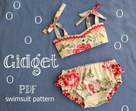 Gidget Retro Style Baby Swimsuit -- Sizes 3T,4T,5T,6T  If youd like this cutie patootie bikini in sizes 6m, 12m,18m, 24m heres the link --  https://www.etsy.com/listing/97459257/gidget-baby-bikini-sewing-pattern-retro  The Gidget bikini swimsuit has a vintage-y, retro feel thats oh so much fun! Its fully lined for comfort, can be made from quilting cottons (YES!), and the pattern bottom comes with sizing options for wearing with or without a diaper underneath. The tutorial includes page…