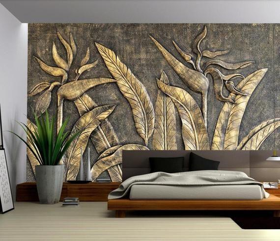 Custom Photo Wallpaper Mural Golden Bird Sculpture Flower Wall Etsy In 2020 Custom Photo Wallpaper Mural Wallpaper 3d Wall Murals