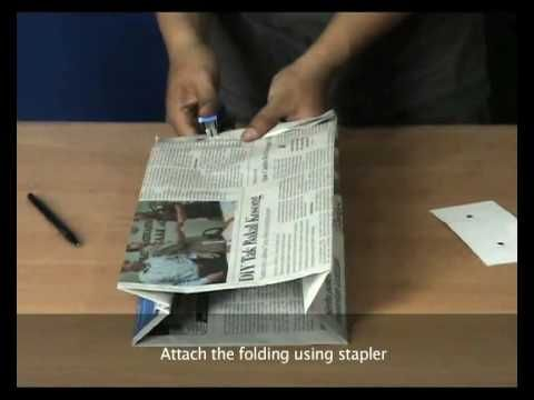 RENEWS (HOW TO MAKE NEWSPAPER BAG): STAPLE VERSION - YouTube