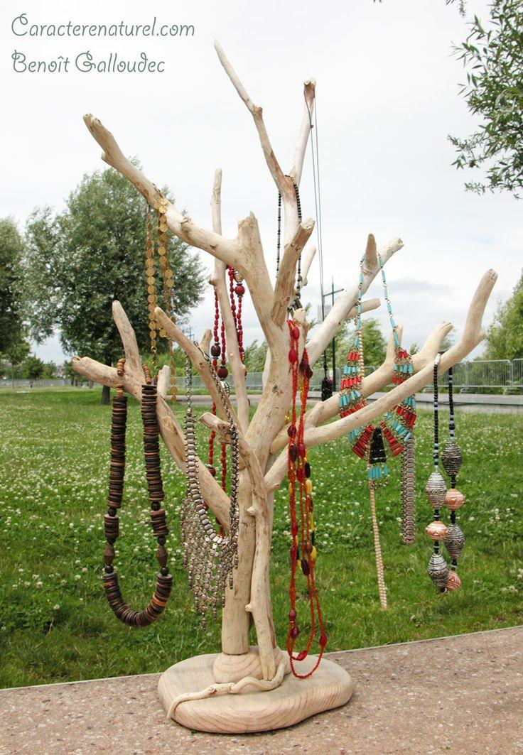 arbre pr sentoir colliers en bois flott caract re naturel. Black Bedroom Furniture Sets. Home Design Ideas