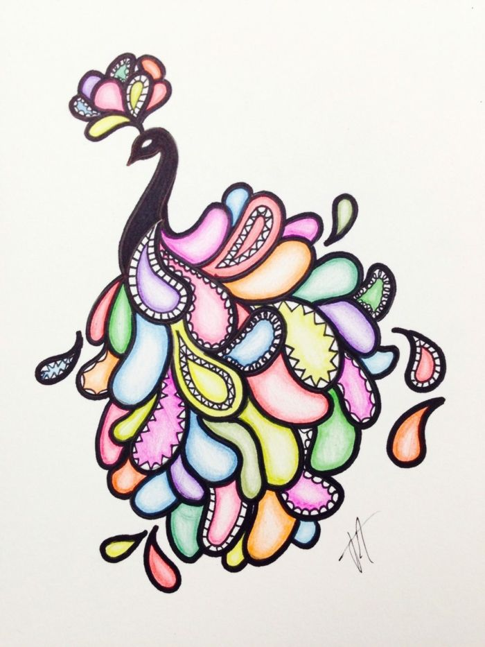 Bird With Colorful Feathers Cute Easy Drawings Colorful Pencil Drawing On Whie Background Sharpie Drawings Pencil Drawings Tumblr Colorful Drawings Want your kids to try sketching? bird with colorful feathers cute easy