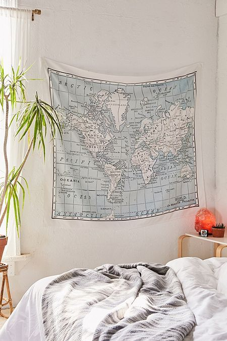 Catherine Hol be For Deny World Map Tapestry