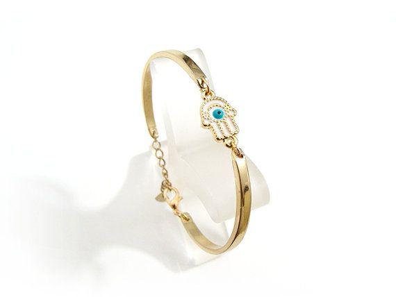 Geometric Hamsa Bracelet with Tiny white Hamsa by EvilEyeGift