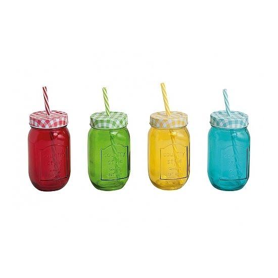 Weckpot drinkbeker 450 ml  Drinkbeker of glazen potje met rietje en deksel. Inhoud: 450 ml. Van gekleurd glas. De zogenaamde Mason Jars.  EUR 2.50  Meer informatie