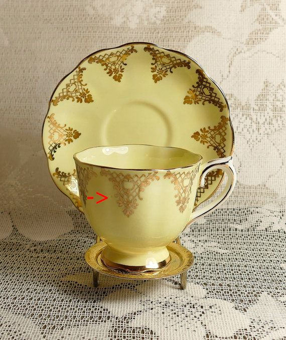 Royal Albert Yellow and Gold Cup and Saucer by TidyTipsDesign