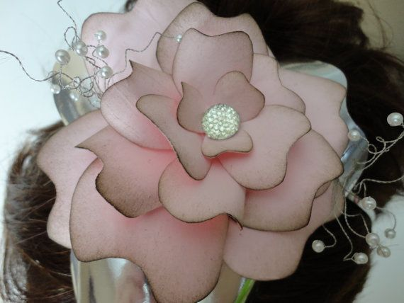 Large Pale pink and silver paper flower bridal by 2CLVR4UDESIGNS, $25.00
