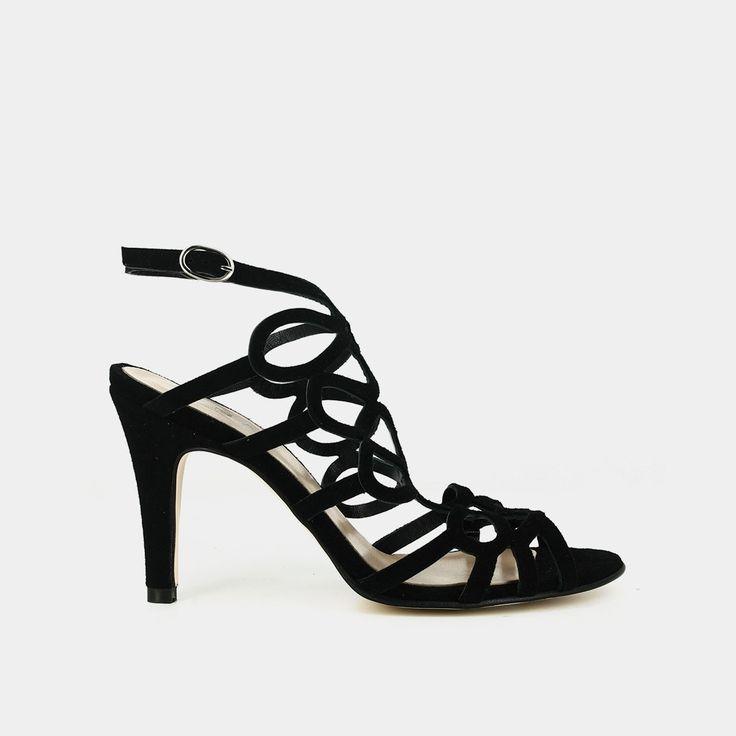 Sandales à talon haut en velours noir