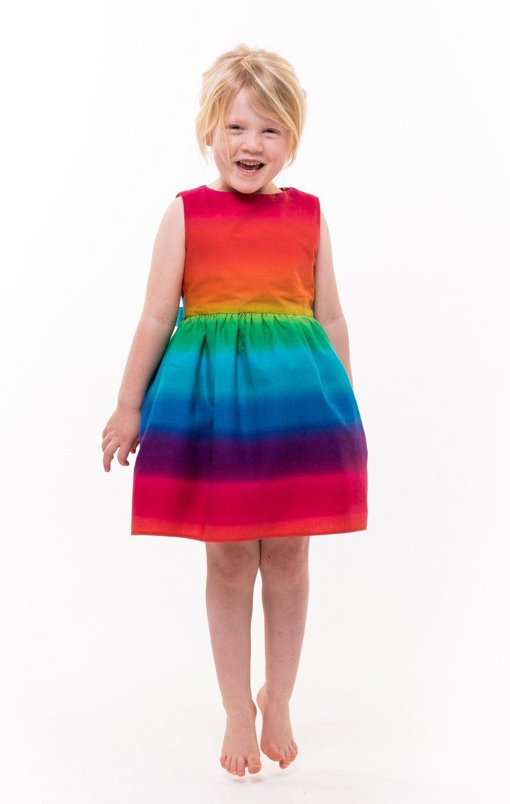 Toddler Kids Child Baby Girls Rainbow Stripe Butterfly Party Dress Clothes