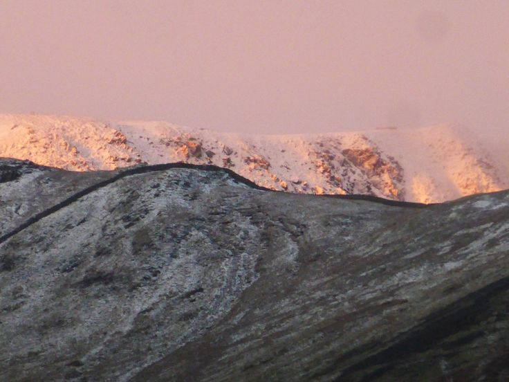 Helvellyn behind Striding Edge - first snow of the year November 2013