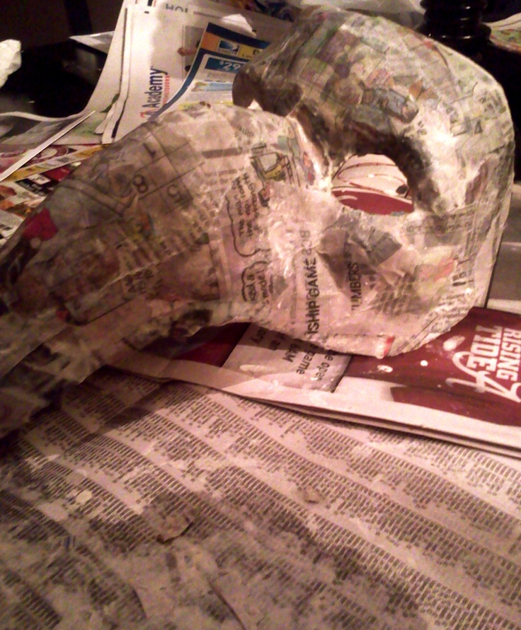 Paper mache mask taking shape!