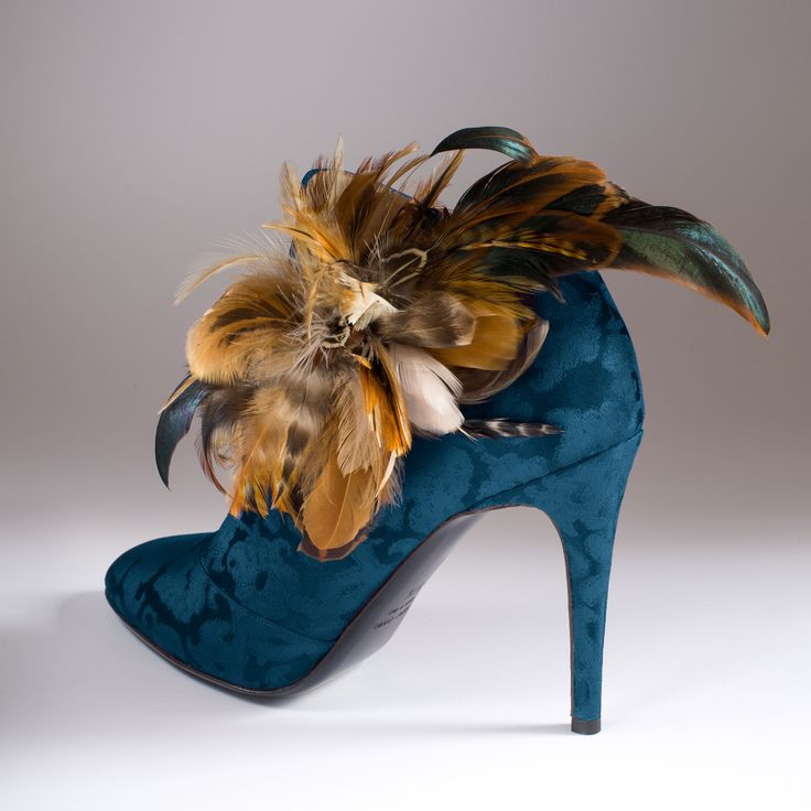 """""""La Chasse Exquise"""" in Rubelli peacock blue silk brocade with """"Diana the Huntress"""" feathers http://store.leschaussonsdelabelle.com"""