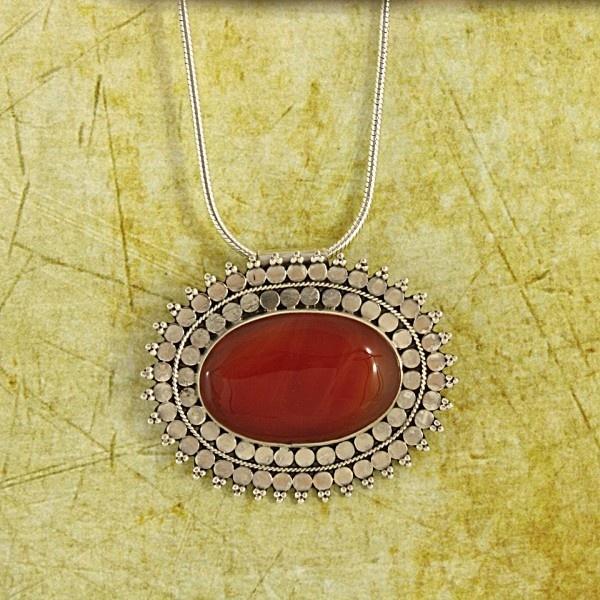 Red Carnelian ' Scarlet Sun' Pendant Necklace