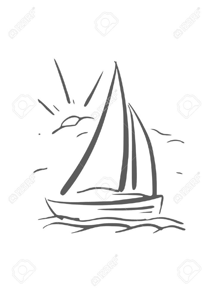 Hand Drawn Background With Sailboat Vector Eps8 Royalty Free ...