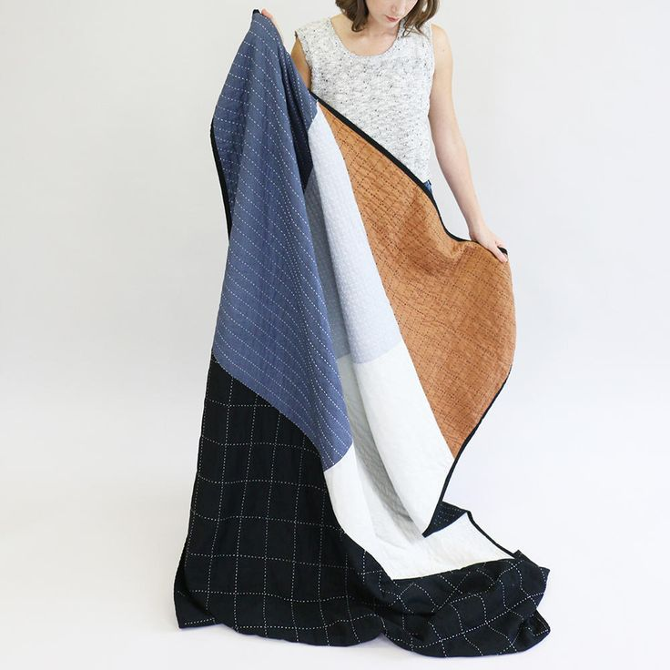 Large Throw Quilt (Camel & Charcoal) on AHAlife