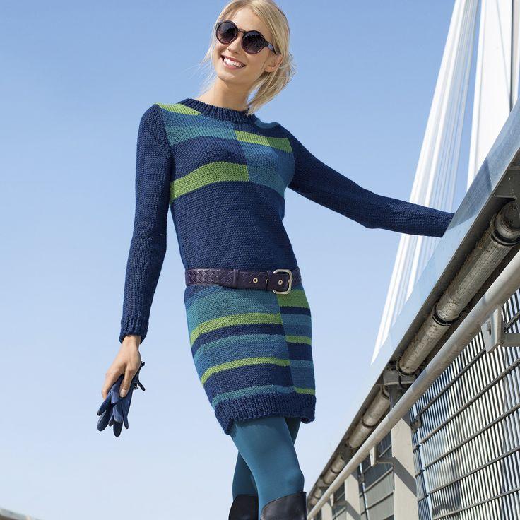 Платье с цветными полосками - схема вязания спицами. Вяжем Платья на Verena.ru