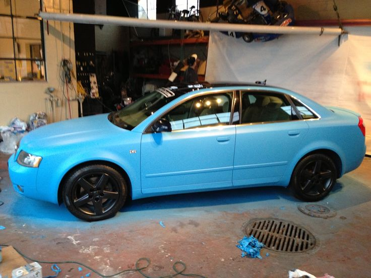 Plasti Dip Wrapped Matte Baby Blue Audi A4 With Black