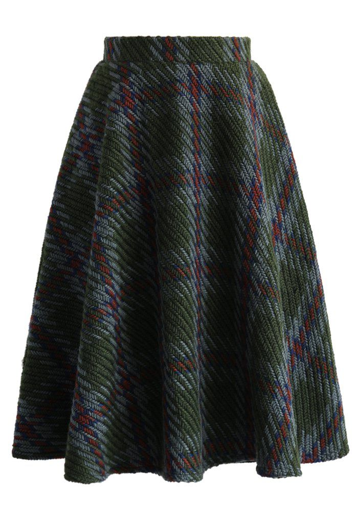 Chunky Plaids Knitted Skirt in Green - New Arrivals - Retro, Indie and Unique Fashion