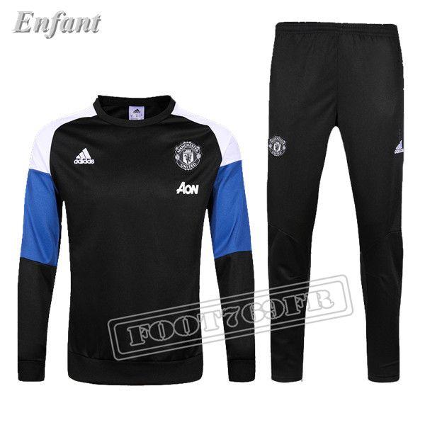 Meilleure Qualité: Manchester United 2016 2017 Nouveau Survetement De Foot Enfant Noir/Bleu 100% Polyester | Foot769Fr