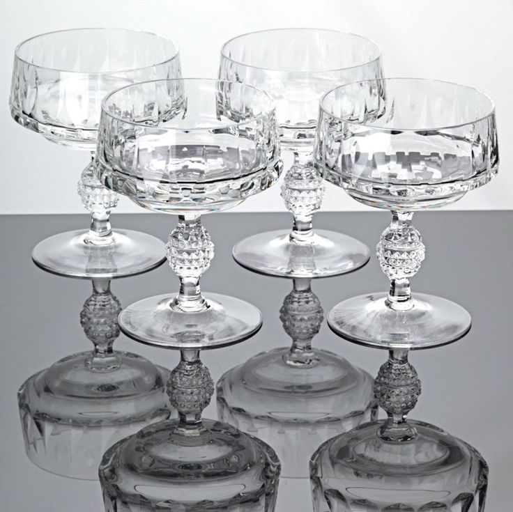 4 edle Sektschalen Poschinger Kristall Gläser Vintage Sektgläser Dessertschalen