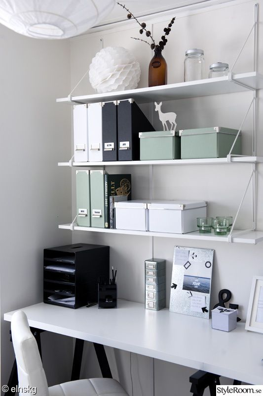Home office, small space, white, minty green. Simp…