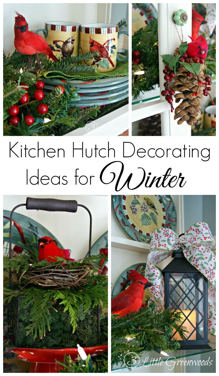 Don't let the after Christmas decorating blues get you down. Add a pops of color and lights with these Kitchen Hutch Decorating Ideas for Winter!