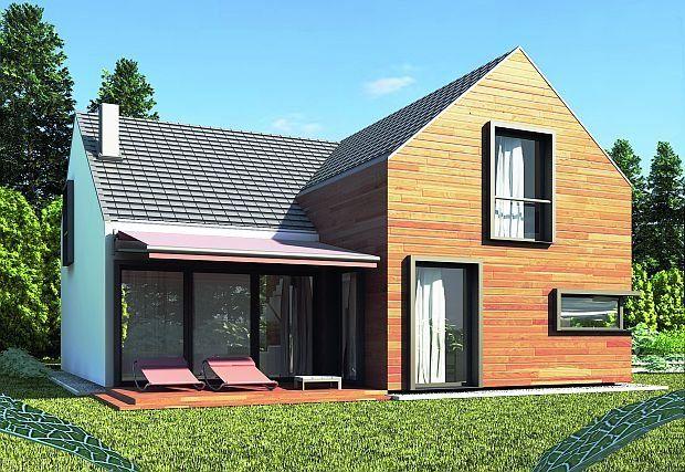 Dom z użytkowym poddaszem, elewacja ogrodowa