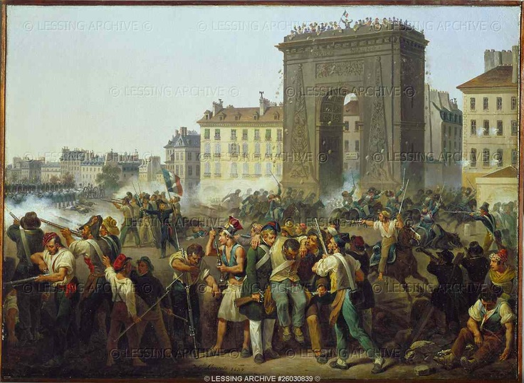 "Lecomte,Hippolyte.Fighting at the city gate of St.Denis July 28, 1830.   ""Les Trois Glorieuses"" (The ""three glorious days"", July 27,28 and 29) ended the brief Bourbon restauration and established King Louis-Philippe's ""July Monarchy""."