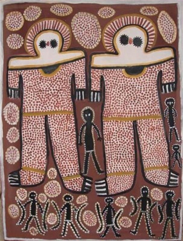 """Lily Karadada """"Wandjina and Kwions"""" 2007 natural earth pigments on linen 122x92"""