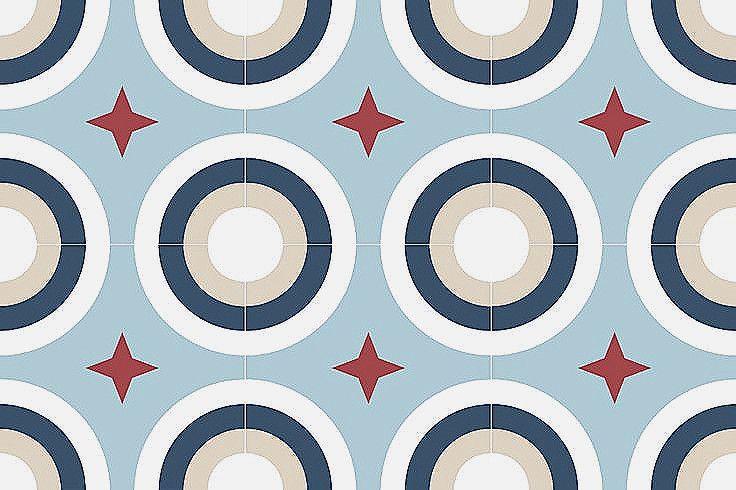 Carrelage Imitation Carreaux De Ciment A Motifs En Blanc Et Bleu