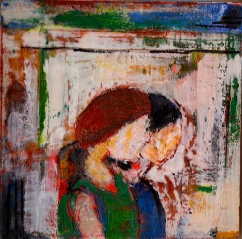 "Daily Paintworks - ""Two Girls encaustic wax  on wood board"" - Original Fine Art for Sale - © Anita Badami"