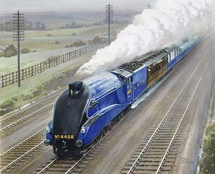 a painting of the Mallard speeding through the countryside