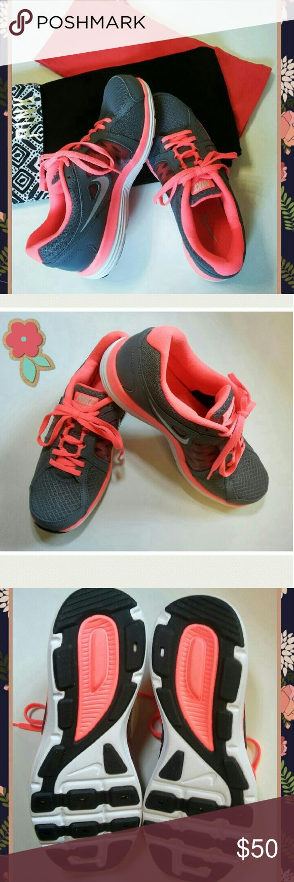 Nike Double Fusion New Size 8.5 New Without Box 🎉 These super cute Nikes are new, have been tried on but never worn and shows in spotless soles & condition of shoes. The box was thrown away. Medium dark gray with bright coral. Nike Shoes Athletic Shoes