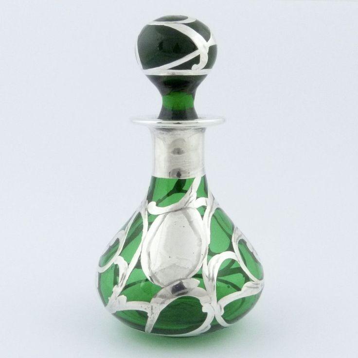 um 1900: kleiner Jugendstil Parfum Flacon grünes Glas 925er Silber floral | Antiquitäten & Kunst, Silber, Silber, 800er- 925er | eBay!
