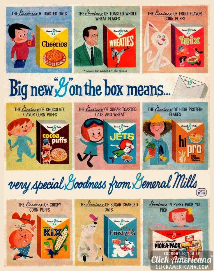8 vintage breakfast cereals from General Mills (1960)