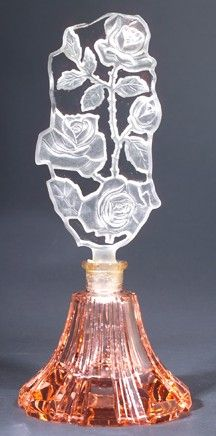 A Czechoslovakian Glass Perfume Bottle, in clear & pink Crystal, circa 1920's