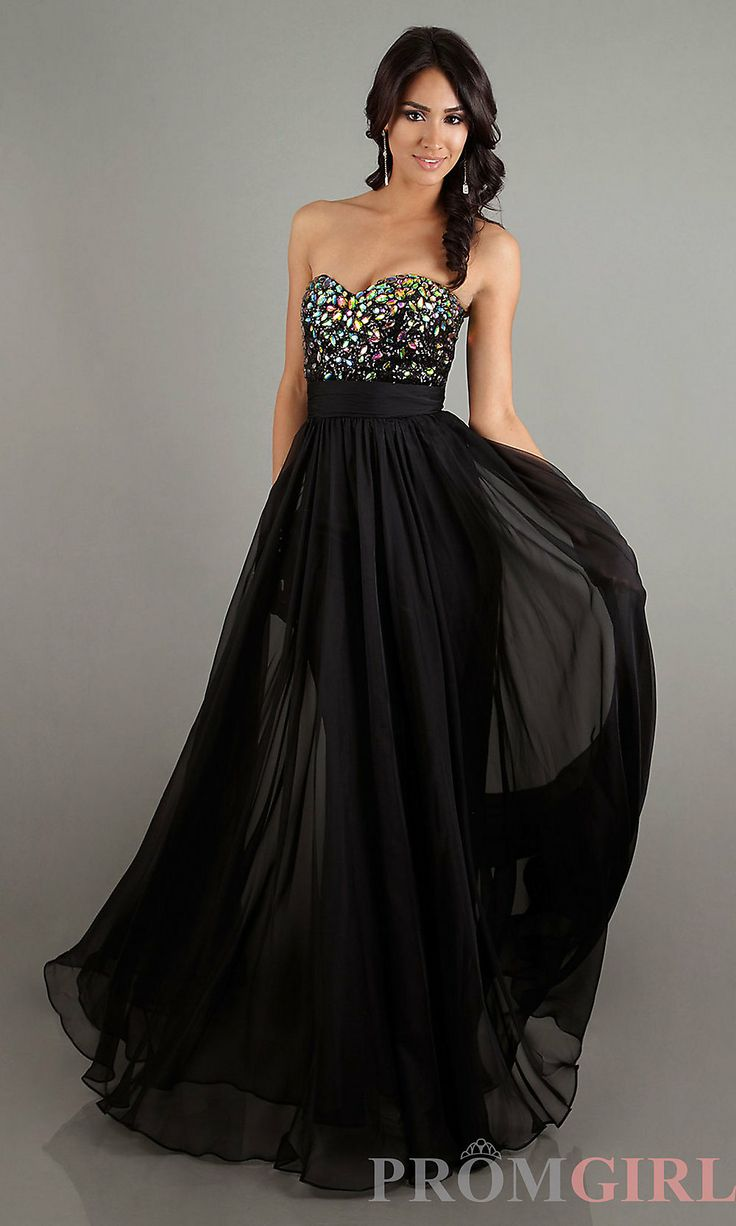 Long Black Strapless Prom Dresses
