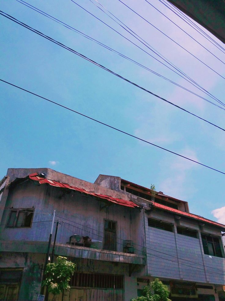 Blue sky aesthetic Old house