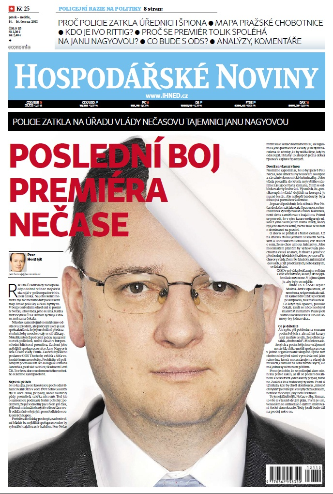 Titulní strana HN 14.6.2013 - Poslední boj premiéra Nečase