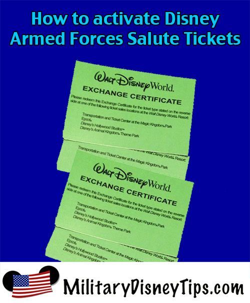 Many people are surprised to find out that Disney's Armed Forces Salute Tickets need to be activated upon arrival at Walt Disney World or Disneyland. Here's how to do it!