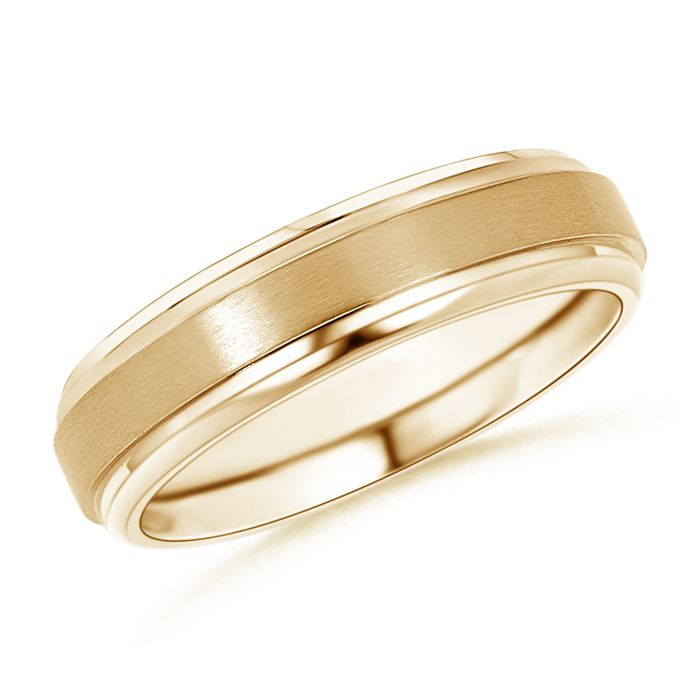 Satin Finish #Men's #Wedding #Band Say 'I do' with a stylish #men's #wedding #band crafted in your choice of gold or platinum. This exclusively designed ring features a brushed finish in the raised center with polished edges. This fine metal #band has chamfered edges for a comfortable fit.  #WeddingBands #PlainBands #GoldBand