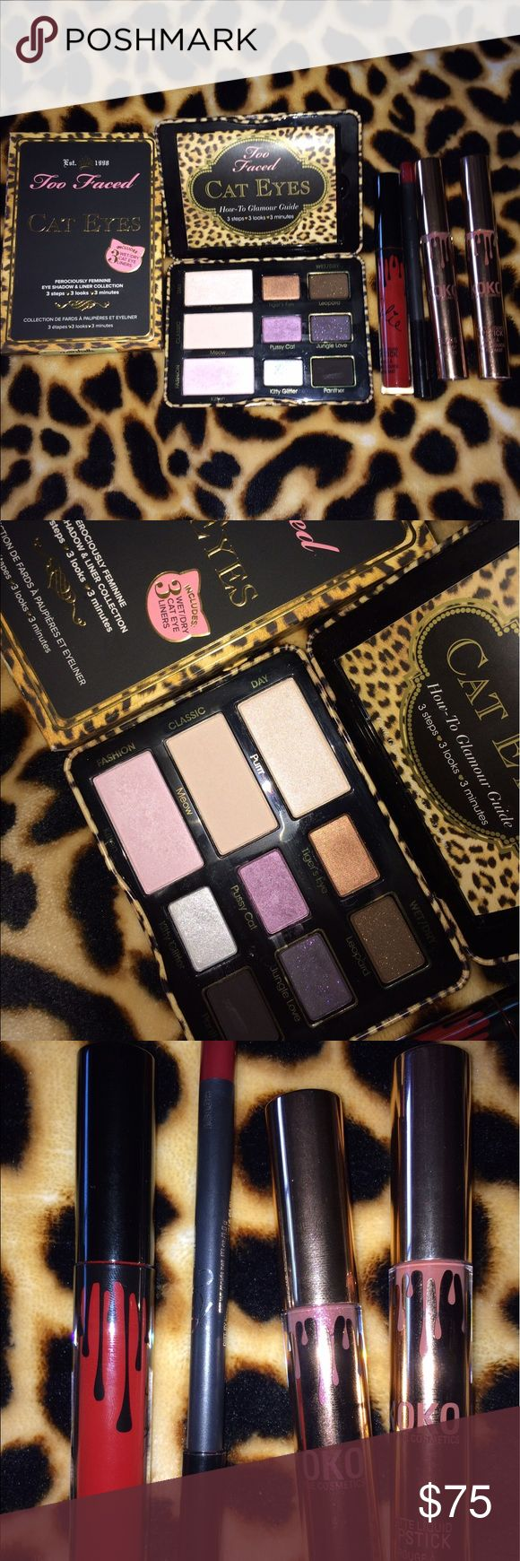 Make up Bundle KYLIE TWO Faced Cat Eyes NEW REAL Authentic two faced cat eyes eye shadow palette with how to booklet to accomplish any look in box. Was only swatches. 3 authentic Kylie Matte lip colors and one matching lip liner. Mary jo K w/ matching liner Damn Gina and khlos New never used. Kylie Cosmetics Makeup Eyeshadow