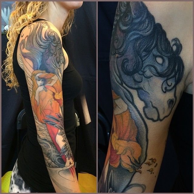 Jeff Gogue: Progress on this tribute piece to ten lost friends in a plane crash. Skydiving team.... Mucha inspired woman in mourning standing with a dark Pegasus on a Roman numeral X... #seattletattooexpo @sullenclothing @sullentv @fusion_ink @rockstarenergy #inkeduptour