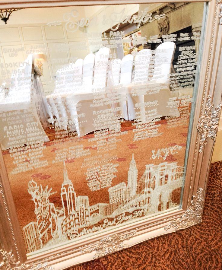 Mirror table Plan hand drawn New York skyline theme weddings