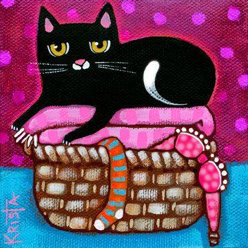 CAT on Fresh Laundry Folk Art Folk Art Cat by kristaartstudio